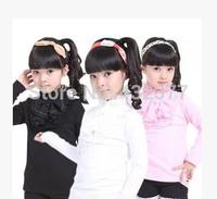 High quality autumn-winter children's long sleeve T shirt,Cotton Girls lace shirt White Black Pink bottoming shirt size 4t-14