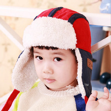 2014 New Candy spell color Children Fur Hats baby boy Winter wool Hat with villi inner Kids Earflap Cap FOR 2-8 Years Old(China (Mainland))