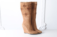 Free Shipping 2014 Women's Fashion Classy Unique Sunflower Rhinestones Genuine Cow Suede Warm Flock High Wedge High Riding Boots