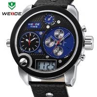 2014 WEIDE Brand Oversized men watch analog sports Wristwatch genuine leather Men's Watches Japan Miyota 2035 quartz watch