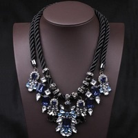 Blue Crystal Pendant Chunky Statement Necklace Hemp Rope