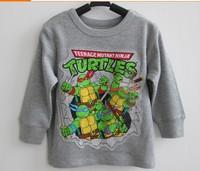 NEW DESIGN! Free shipping kids Teenage Mutant Ninja Turtles long sleeved t shirt grey color boy tops 10pcs/lot