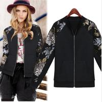 2014 Autumn New Women's Jacket Sequined Zipper Long Sleeve Black/Apricot Cotton jackets women Street Style Coats S-XXL Plus SIZE