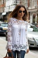 #1004  New Tops  Women Blouse Lace Chiffon Long-sleeve Blouse Plus Size blusas de manga comprida blusa renda