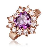 Fashion Purple Heart Zircon Charming Women's Finger Ring 18K Rose Gold Plated Size 8 R404