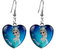 50pairs Frozen Alsa Anna Heart Style Earrings Children Earrings Glass Material