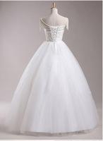 Free shipping wedding dress 2014 lace +organza