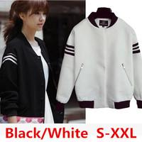 Hot Sale New 2014Autumn Women fashion Tracksuits Cotton Black/White Pullovers Women's baseball jacket  S-XXL Sport Sweatshirt