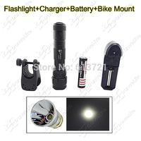 Bicycling Flashlight Set ~ UltraFire WF-502B CREE XP-L V5 1750LM LED Flashlight Torch + (4000mAh Battery+Charger+Bike Mount)