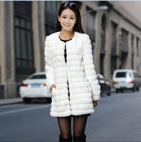 2014 Winter warm Women's Rabbit Fur Coat Fox Fur Collar Medium-long Fur Coats Plus Size S-XL Winter Coat Women 8 color options
