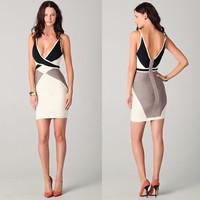 Free Shipping 2014 Women Summer Sexy Deep-V Sleeveless Patchwork Bandage Dress Women Night Club Bodycon Dress Size L M S KF018