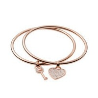 Gold Silver Rose Gold Metal High Quality Key Heart Charm Bangles Set Women Jewelry Pulseiras