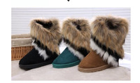 2014 Winter European Style Warm High Long  Women Snow Boots Artificial Fox Rabbit Fur Leather Tassel Women's Snow Shoes