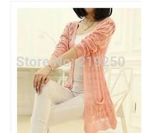 2014 new knitting hollow woman long cardigan, free shipping