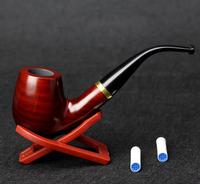 10 Tools Set Sandal Wood Smoking Pipe 15cm Golden Ring Red Smoking Pipe Classic 9mm Filter Smoking Pipe Set
