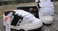 2 colors plus size 44 men's skateboard shoes cow leather black skull ks skateboarding shoes thick sole anti slip unisex shoes