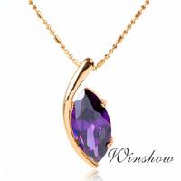 Wholesale 6 Pair 18K Yellow GP Purple Marquise Cut CubicZirconia CZ Charm Pendant 18'' Chain Necklace Womens Girls Jewelry