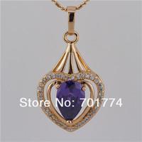 Wholesale 6 Pair 18K Yellow GPTeardrop Purple Amethyst Channel Pave CZ Polish Double Love Heart Pendant Jewelry for Womens Girls