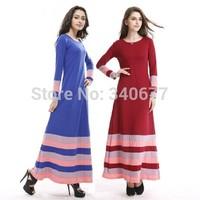 Stripe Design Mercerized Cotton Soft Full Sleeve Long Dress,Fashion Muslim Dress,Islamic Abaya/Caftans Free Shipping