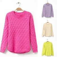 2014 autumn new Korea style women sweaters, slim thin o neck fresh twist lattice fashion woman sweaters and pullovers 4 colors