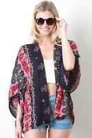 2014 New  Europe and United States Woman's Blouses Fashion Retro Print Cardigan Kimono Ladies Half Sleeve Chiffon Shirt