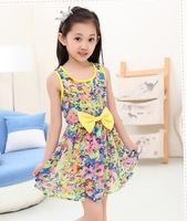 girl dress 2014 girl chiffon dress girl sleeveless dress  girl broken flower dress for 110cm~155cm  girl 218