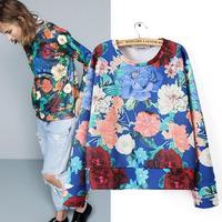Women's clothing 2014 autumn new western design big flowers printed sweatshirts, blue long sleeve o neck casual sweatshirts