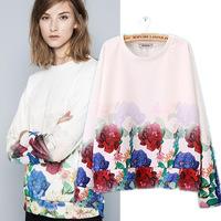Women sweatshirts, 2014 autumn new Europe long sleeve sweatshirts, gradient flower printed hem stitching casual o neck pullover