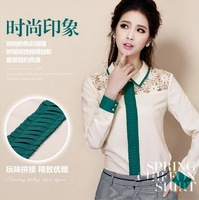 Free Shipping S- XL Plus Size Women's Tops New 2014 Autumn Fashion Casual Green/Pink Sheer Long Sleeve Office Blouse Shirt Sale