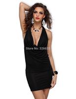 1pcs/lot top quality 2014 casual Sexy Ladies Halterneck Mini Clubwear Evening Dress 5 colors M, XXL free tracking