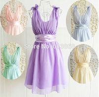 New arrival autumn 2014 women sweet cute double shoulder with bow short design chiffon party dress,good quality vestido de festa