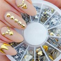 2014 New 120Pcs Gold Silver Metal Nail Art Tips Fashion Nail Decoration Rhinestone