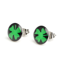 Free Shipping 18 pair 10mm Black Ground Clover Stainless Steel Stud Earrings,Fashion Earring Stud,Stainless Steel Earring #30505