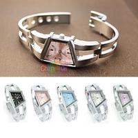 Fashion Lady Adjustable Trapezoidal Design Women Girl Silver Quartz Bracelet Dial Alloy Wrist Watch New Arrival 2014