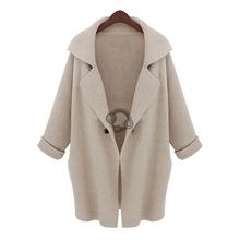 2014 señoras de la manera caliente del invierno de la chaqueta de punto larga y suelta capa de la chaqueta Beige , Café, Negro #(China (Mainland))
