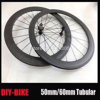 700c Carbon fiber road bicycle 50/60mm tubular wheelset light weight Powerway R13 hub wheel V Brake