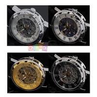 2014 New Fashion Watch Man Luxury Stainless Steel Wind-up Spring Clockwork Watches Fashion Mechanical Wrist Watch