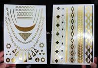 DHL free shipping Gold Silver Foil Metalic Temporary Tattoos 500 pcs per lot