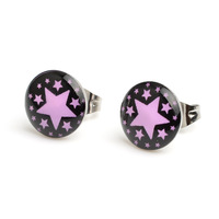 Free Shipping 18 pair 10mm Black Ground Pin Stars Stainless Steel Stud Earrings,Fashion Earring Stud #30507