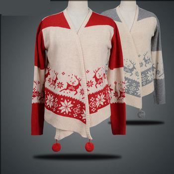Новое поступление женщин кардиган зима печать рождественские олени шерсть v-образным вырезом свободного покроя европейский и американский стиль свитер KB190