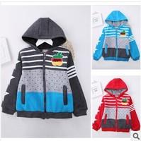 2014 Autumn New Boys Korean Hooded Hoodies & Sweatshirts Printed Casual Zipper Shirt Outerwear Coat Jacket Size For 2-7 years