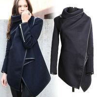Free shipping! 2014 Hot Sale Fashion Women Autumn Winter Woolen Overcoat Full Sleeve Zipper Solid Trench Wool Coat 185-0005