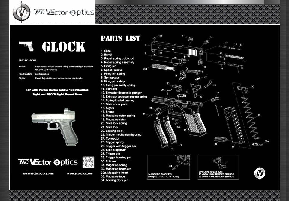TAC Vector Optics 20x12 Handgun Gunsmith s Gun Cleaning and Maintenance Bench Rubber Mat with Glock