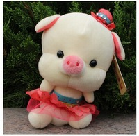 10 pieces cute plush pig toys small pig dolls lovely pig dolls in pink skirt wedding gift about 20cm