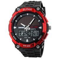New SKMEI Brand Solar Energy Watch Men Sports Watches 2 Time Zone Digital Quartz Multifunctional Outdoor Military Wristwatches