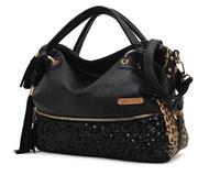 2014 New women bag European and American high-capacity commuter fringed handbag sequined leopard handbag leisure bag trade B1