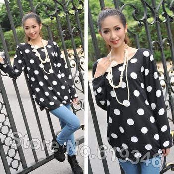 Женщины весна осень классический белый трикотажные черный о-образным вырезом полный рукав длинный свободный супер большой свитер футболки пуловеры QYF012