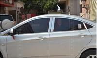 for HYUNDAI SOLARIS VERNA i25 Accent 2010 2011 2012 Chrome Window Trims Sill B + C Center Pillar 6 pcs For 4Dr Sedan
