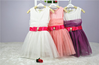 Full Lace Girls Dress Big Pearl Belt Summer Kids Sleeveless Party Dresses 5pcs/lot Children's Clothes 90-130cm