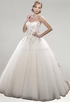 P14W104 Strapless A-Line 2015 Tulle Sleeveless Court Train Lace up back Gorgeous Luxury Unique Brilliant Bridal Wedding Dress